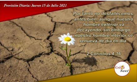 Solo Jesucristo renueva nuestras fuerzas y nos hace firme cada día: Provision Jueves 15 de Julio de 2021