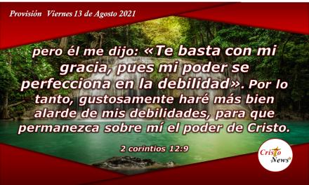 Permitamos que el amor de Jesucristo se perfeccione en nuerstra debilidad: provisión Viernes 13 de Agosto de 2021