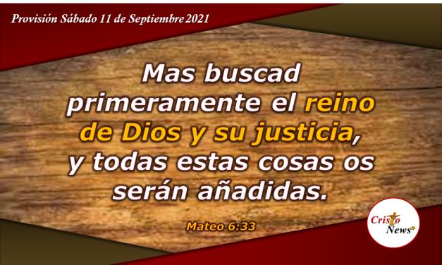 Busquemos vivir bajo el gobierno de Dios instruidos en su palabra para obtener paz en su promesa: Provisión Sábado 11 de Septiembre de 2021