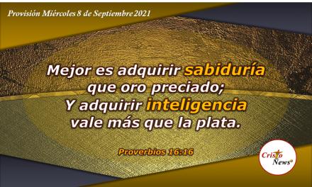 Sabiduría que proviene de Dios y la inteligencia que proveé la palabra son más preciados que el oro y plata: Provisión Miércoles 8 de Septiembre de 2021