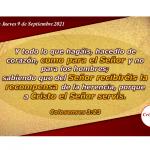 Hagamos todo de corazón Poniendo la Mirada en el Galardón como siervos de Jesucristo: Provisión Jueves 9 de Septiembre de 2021