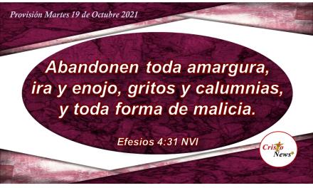 El amor y la humildad en Cristo nos mantiene el corazón limpio y sona de toda malicia: Provisión Martes 19 de Octubre de 2021