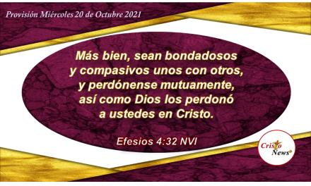 Amarnos en Cristo es ser testimonio de compasión, humildad y perdón hacia nuestros hermanos: Provisión Miércoles 20 de Octubre de 2021