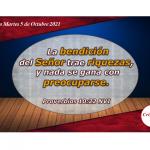 La palabra de Dios trae bendición, paz, gozo y prosperidad: provisión Provisión Martes 5 de Octubre de 2021